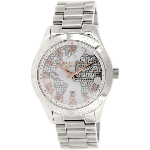 Michael kors womens mk5958 layton silvertone globe watch the dial of this michael kors watch features stunning cubic zirconia gemstones encrusted along the continents of the world for a unique beautiful look gumiabroncs