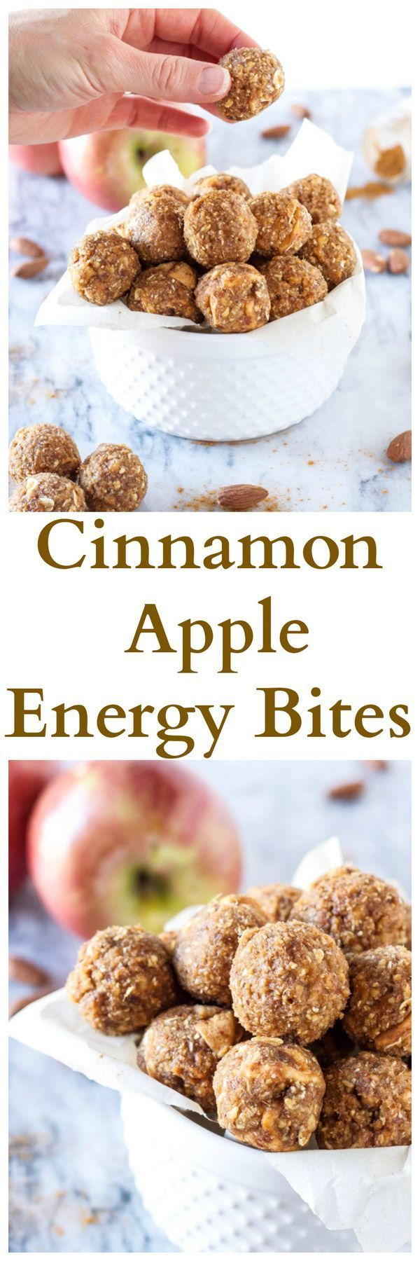 Cinnamon Apple Energy Bites   www.reciperunner.com   Healthy, gluten free, vegan, energy bites that taste just like apple pie!