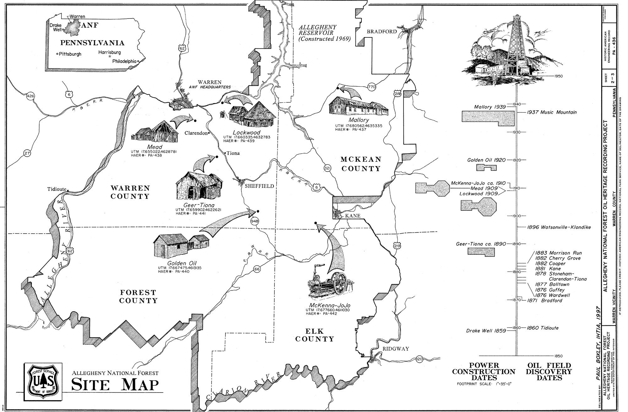Allegheny national forest map allegheny national forest heritage warren county pennsylvania genealogy part of pagenweb publicscrutiny Images