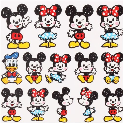 cute mickey mouse stickers from japan kawaii mickey mouse stickers mickey mouse and kawaii. Black Bedroom Furniture Sets. Home Design Ideas