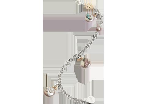 Charms Black Sapphire Crystal Rabbit Design Lovely Lady Silver Chain Bracelet