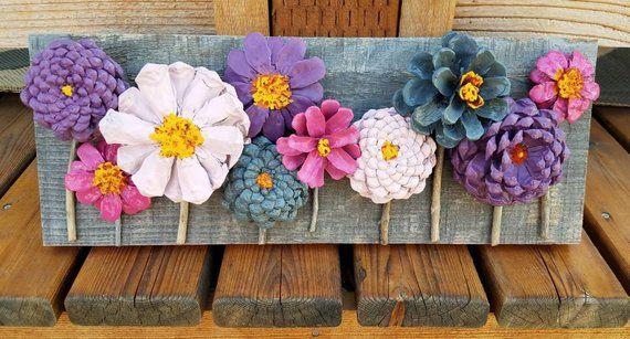 Pinecone Flowers On Barnwood Pine Cone Art Flower Crafts Pine Cones