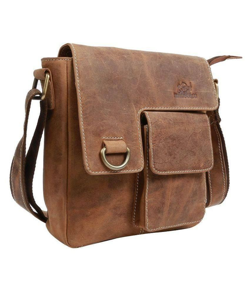 15.6 inches Tuzech Pure Leather Unisex Formal Travel Brown Laptop Messenger Bag