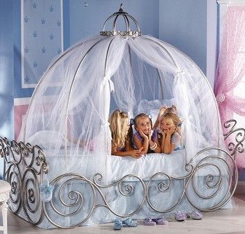 Disney Princess Carriage Bed Twin W Pink Sheer One Week Special