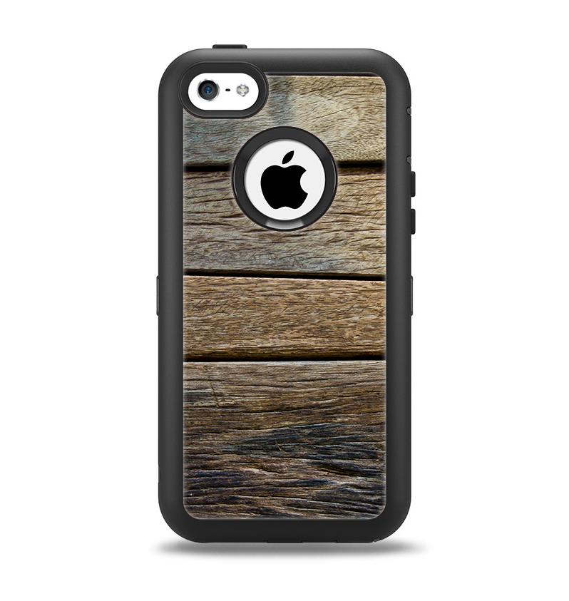 The Uneven Dark Wooden Planks Apple iPhone 5c Otterbox Defender Case Skin Set