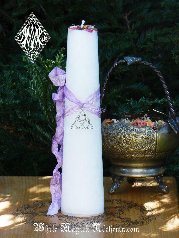 White Magick Alchemy - Trinity Goddess Triquetra Torch Light Candle 2x9 Pillar, $28.00 (http://www.whitemagickalchemy.com/trinity-goddess-triquetra-torch-light-candle-2x9-pillar/)