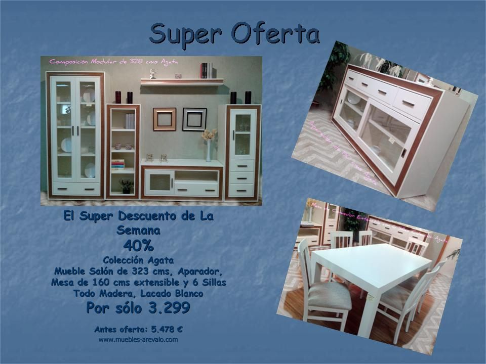Super oferta de sal n completo en madera con e el 40 de for Oferta salon completo