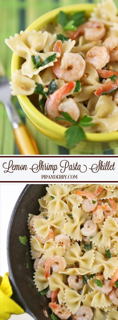 Lemon Shrimp Pasta Skillet | Six ingredients and dinner is on the table in only twenty minutes!