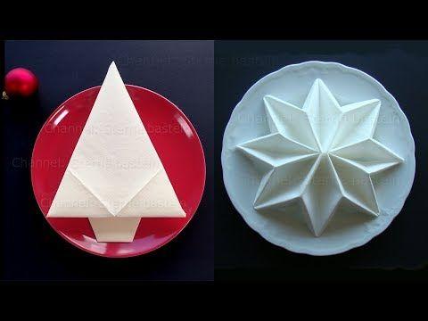 Napkin folding for Christmas: Christmas tree & Star