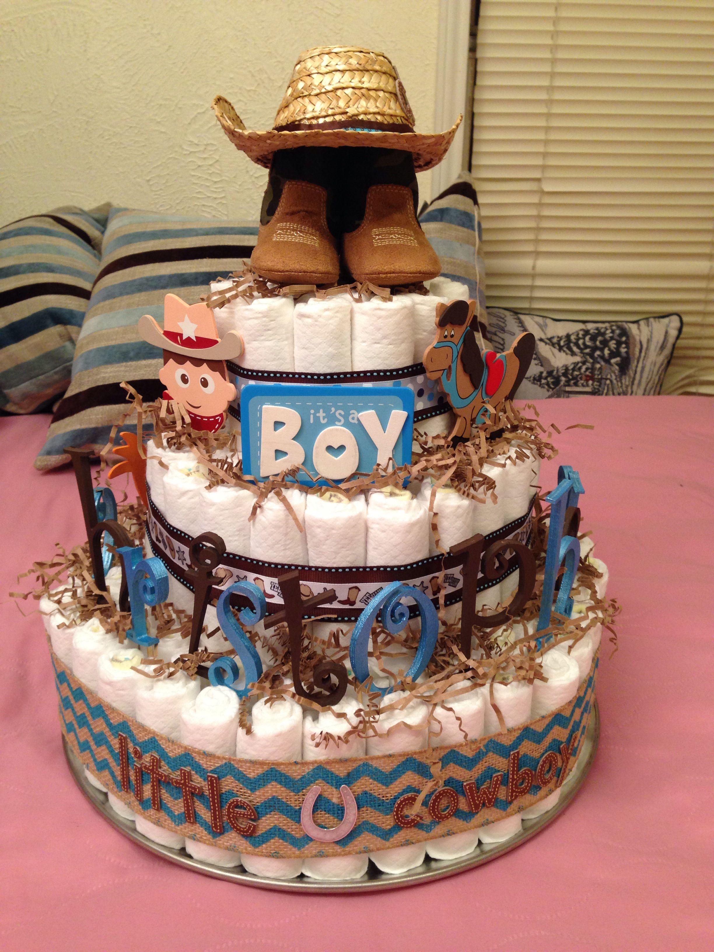 Arreglos Para Baby Shower Vaquero.Cowboy Themed Diaper Cake Cowboy Baby Shower Baby Shower