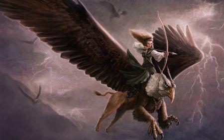 Archer Riding A Griffin Desktop Nexus Wallpapers Fantasy Art Fantasy Mystical Creatures