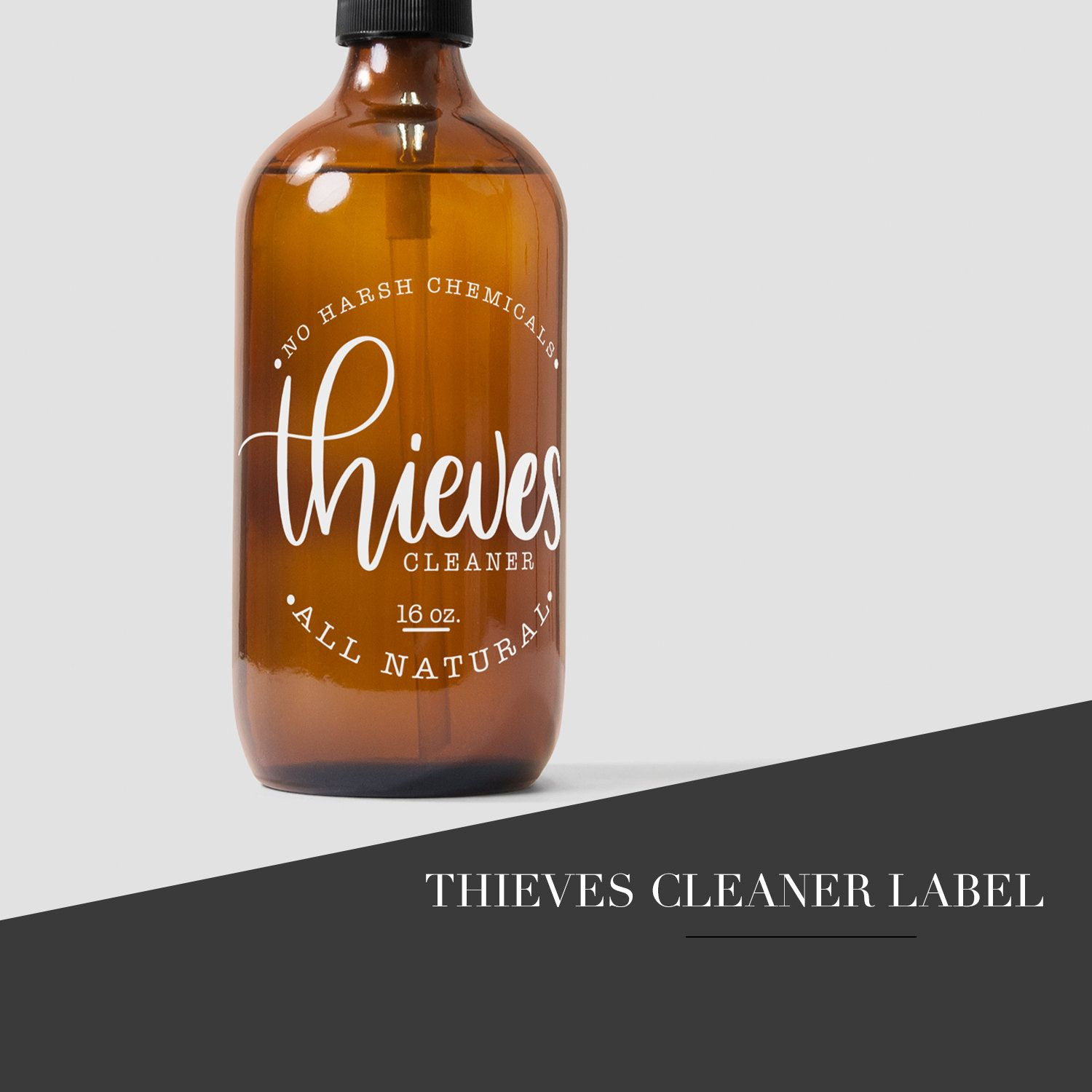 This is a graphic of Crazy Young Living Thieves Cleaner Label