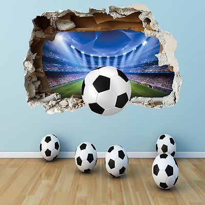 football wall sticker - 3d smashed bedroom boys girls stadium wall
