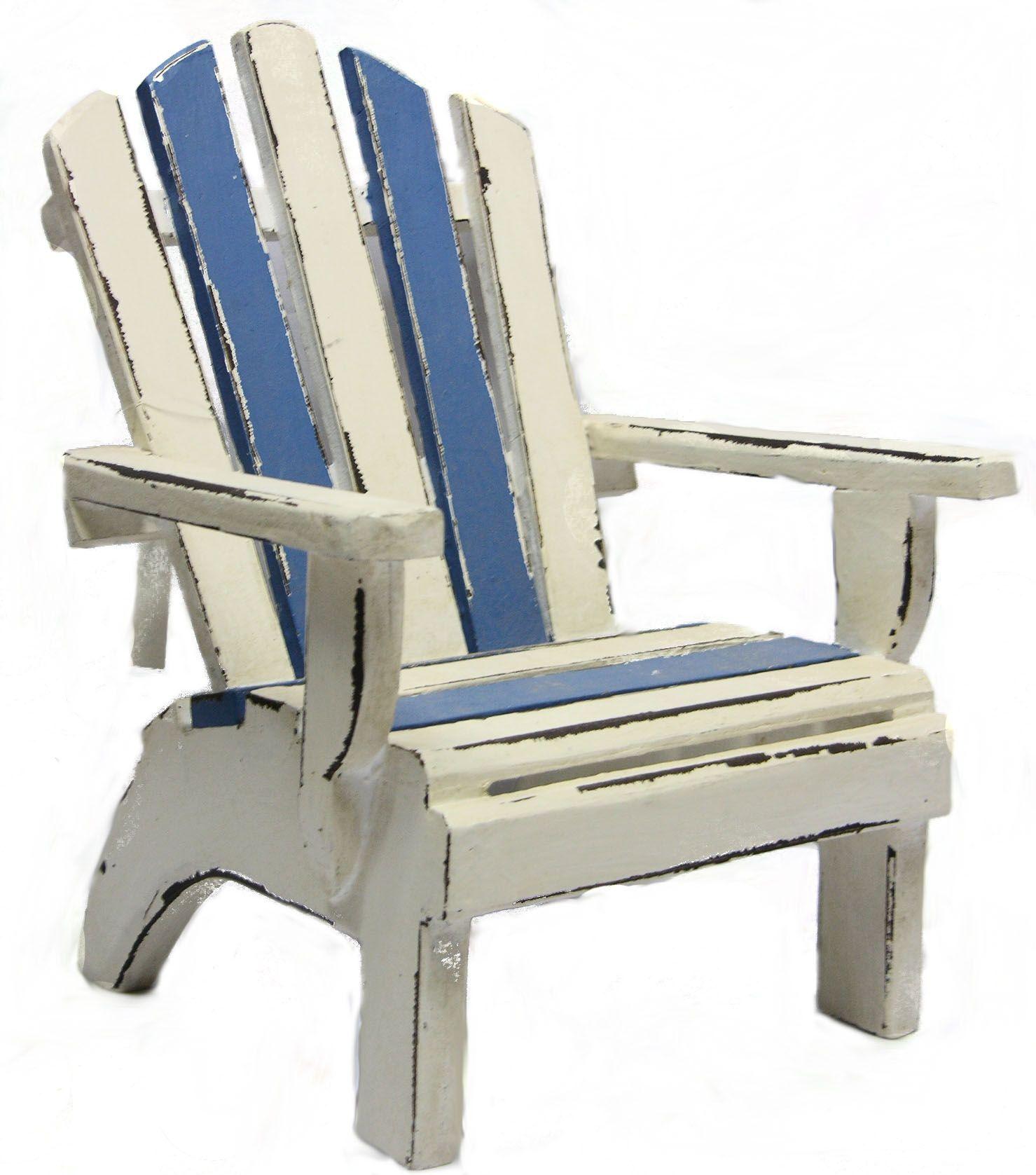 wood beach lounge chair blue/white, #beachdecor, #tropicaldecor