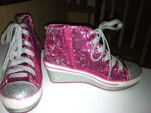 Justice Glitter Heel Two Straps Sneakers Girl's Size 2 and 4 Light Pink