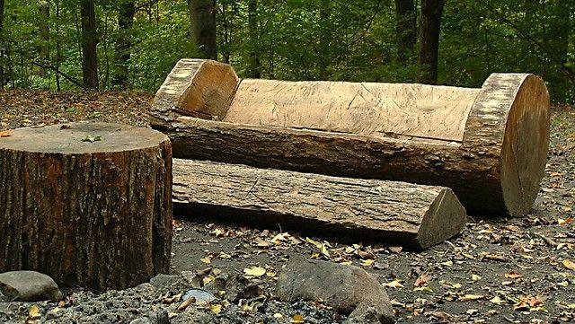 Carved Log Bench And Footrest Log Furniture Diy Log Bench Rustic Wood Furniture