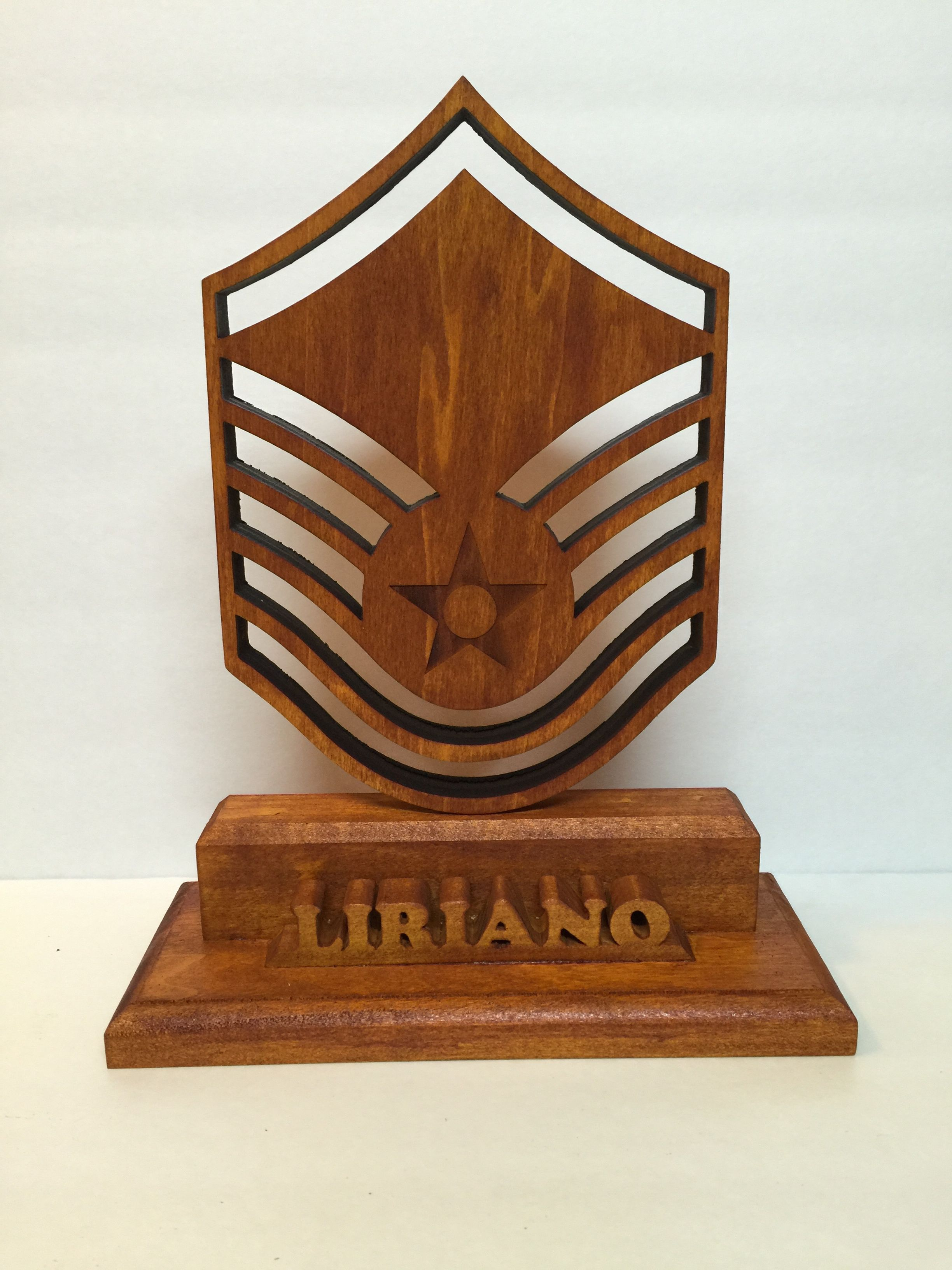 Air Force Master Sergeant and name desk display Military