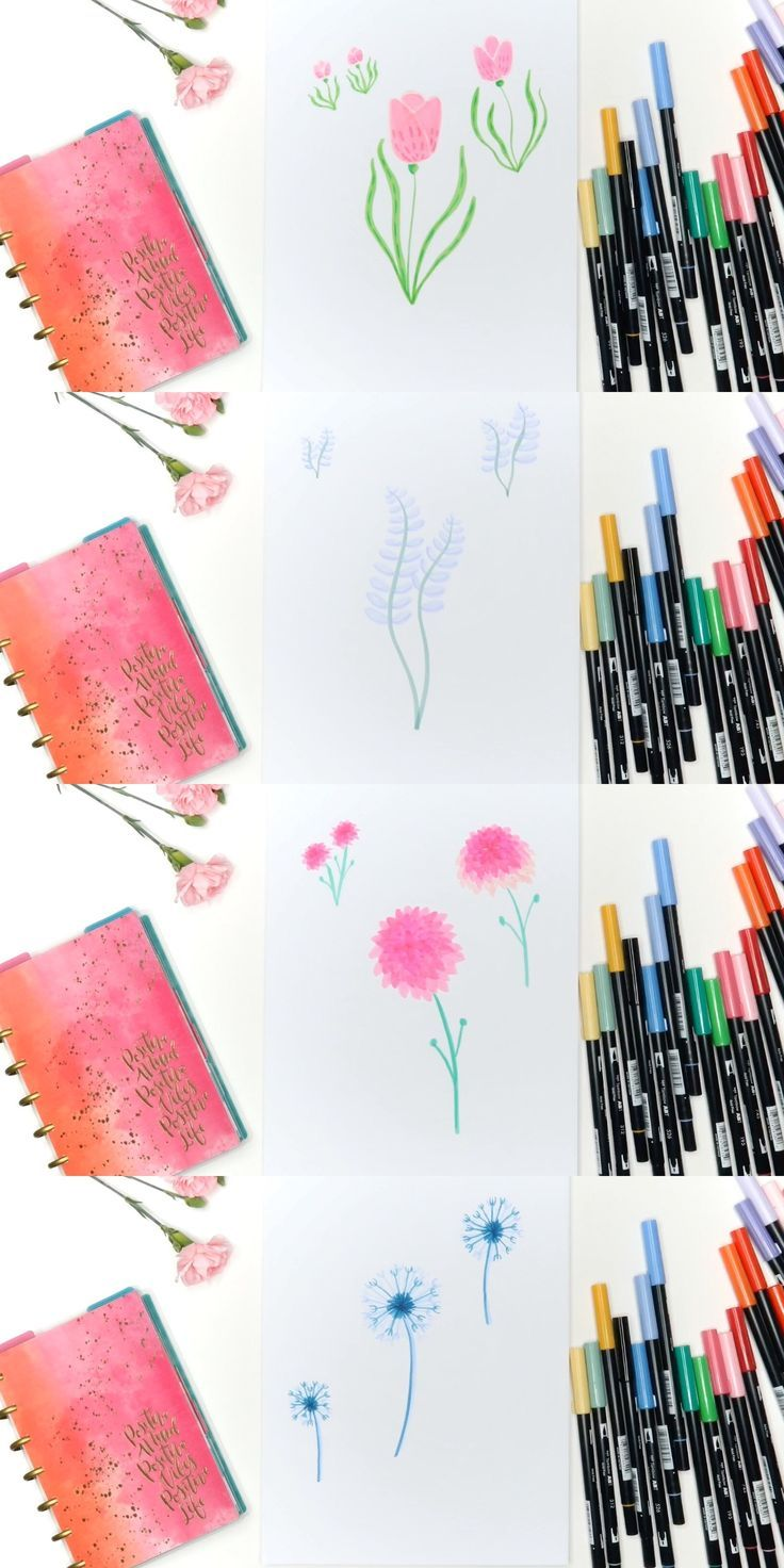 6 Easy Flowers To Draw With Tombow Markers Easy Flower Drawings