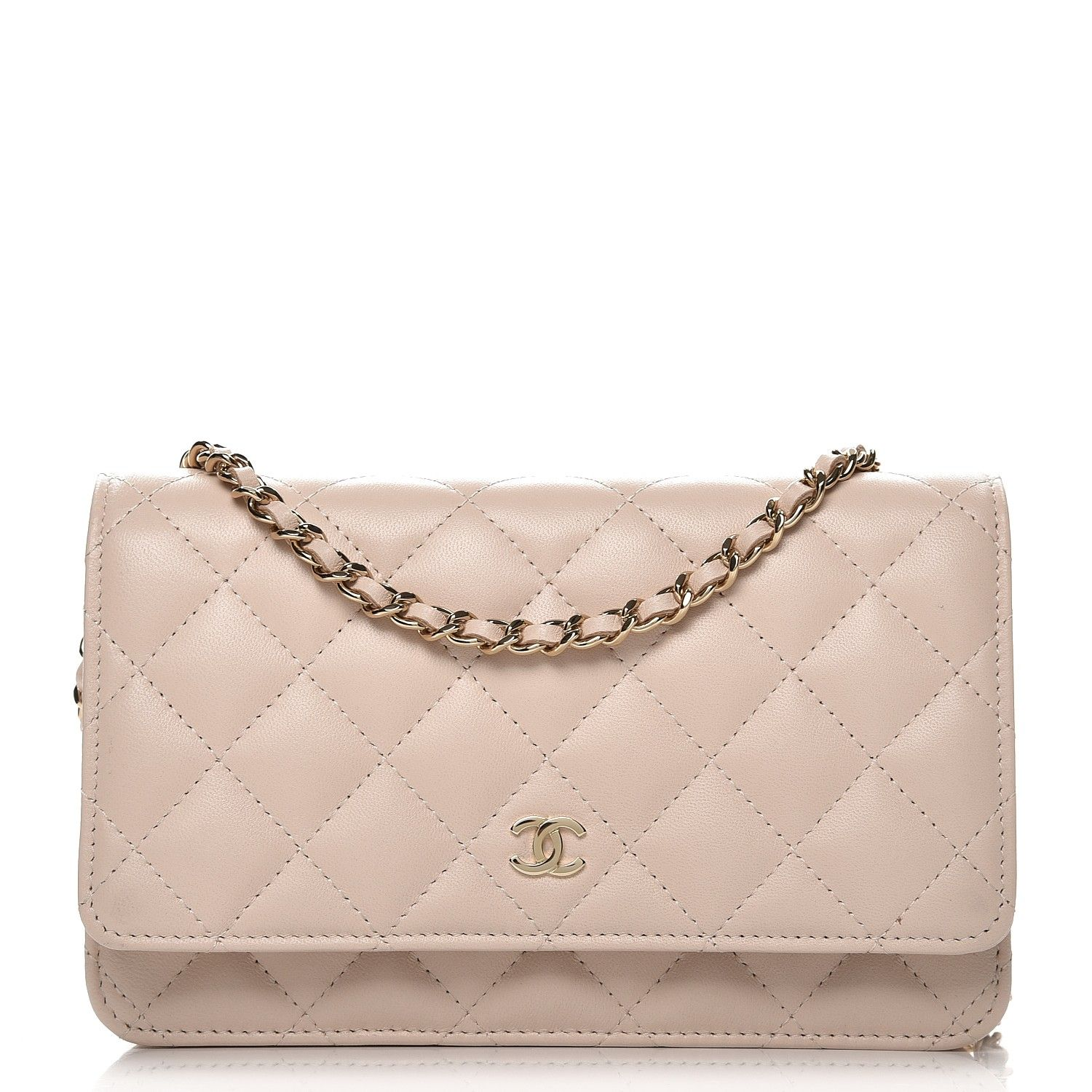 de0d49cb18c6 This is an authentic CHANEL Lambskin Quilted Wallet On Chain WOC in Beige  Clair. This