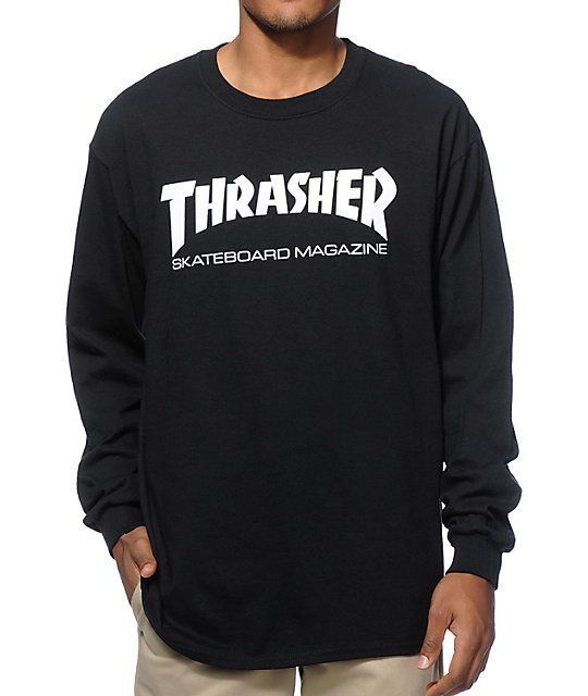 d261ad0bb421 Add an iconic skate style to your outfits with a white Thrasher Skateboard  Magazine logo graphic on the chest of a long sleeve black colorway.