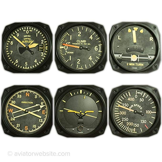 Modern Flight Instruments Cocktail Coaster Set Navigator