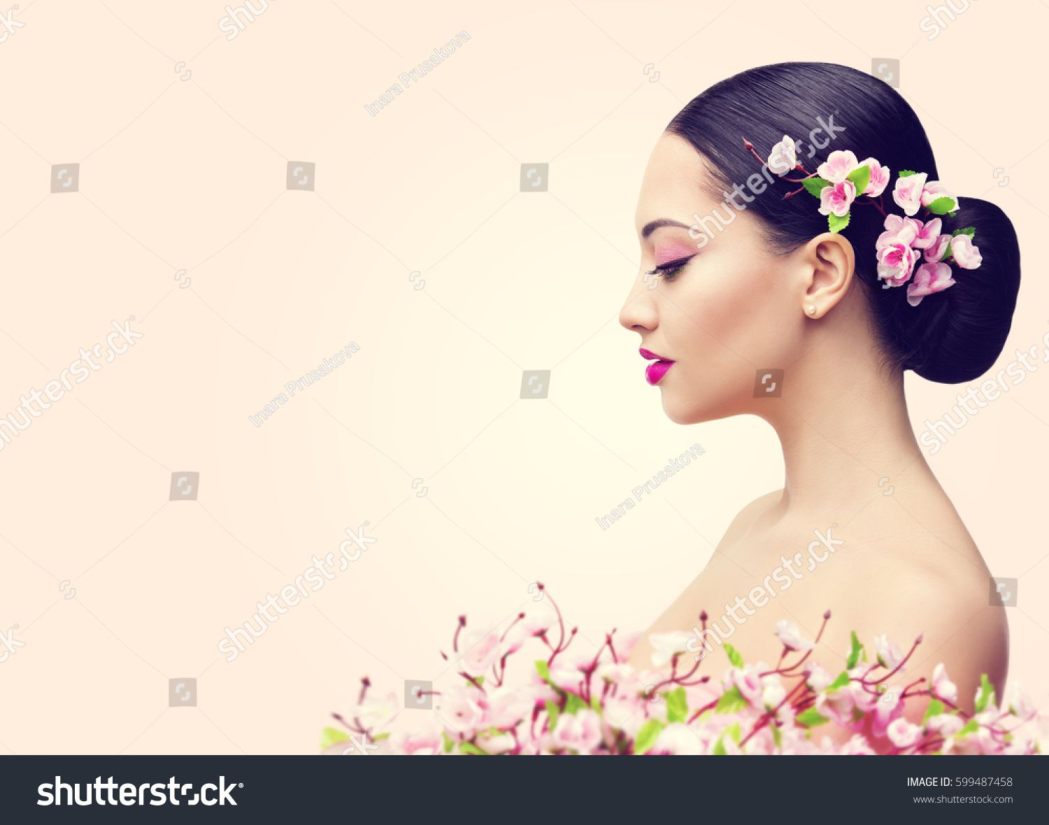 Japanese Girl and Flowers, Asian Woman Beauty Makeup Profile, Beautiful Fashion Model Side View over Pink Background #Sponsored , #Ad, #Woman#Beauty#Makeup#Asian