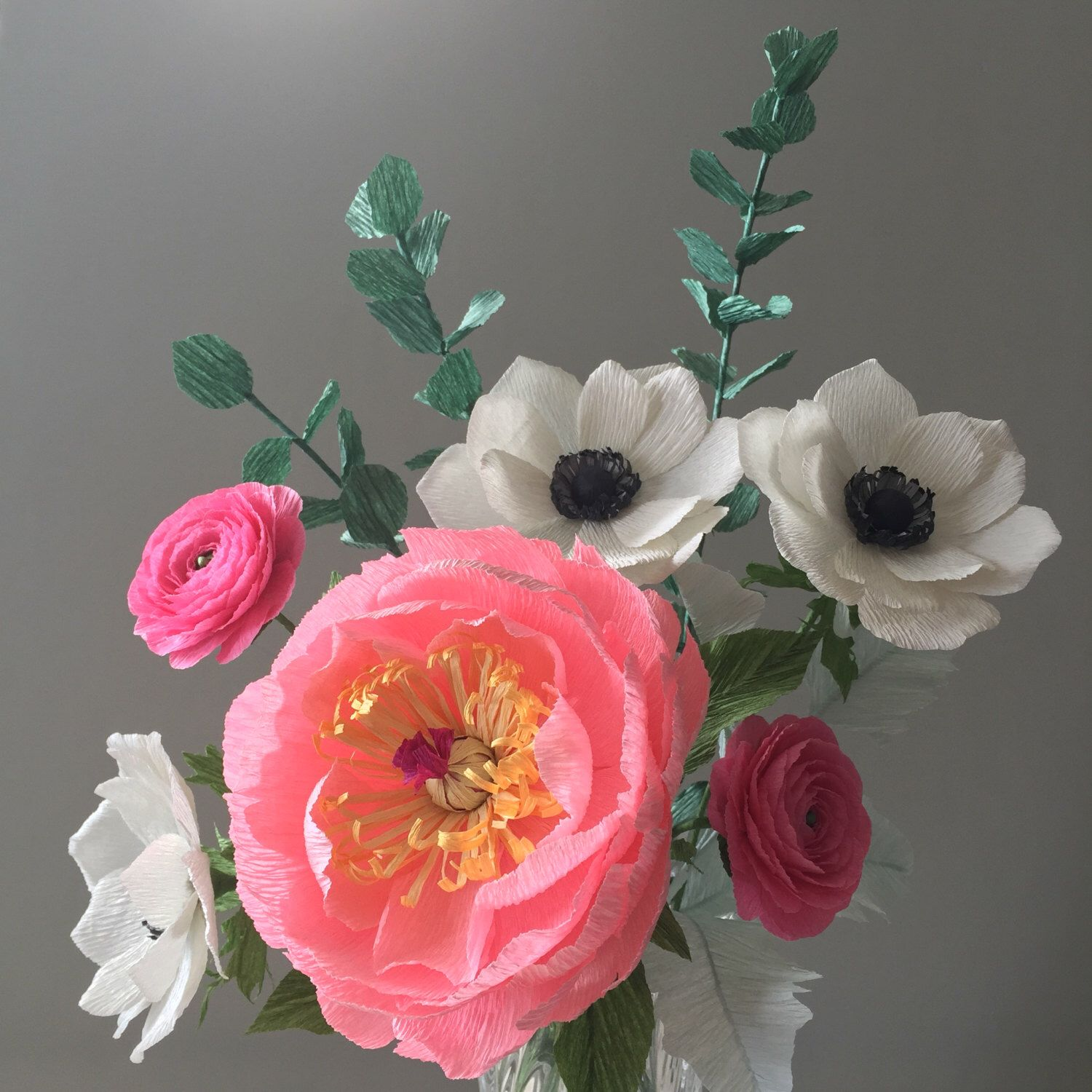 Pink with Black u White Crepe Paper Bouquet Peony Ranunculus