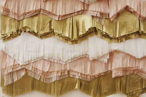 layered tissue by Elsie.  i tooootally want to make a psuedo headboard like this for my bed!