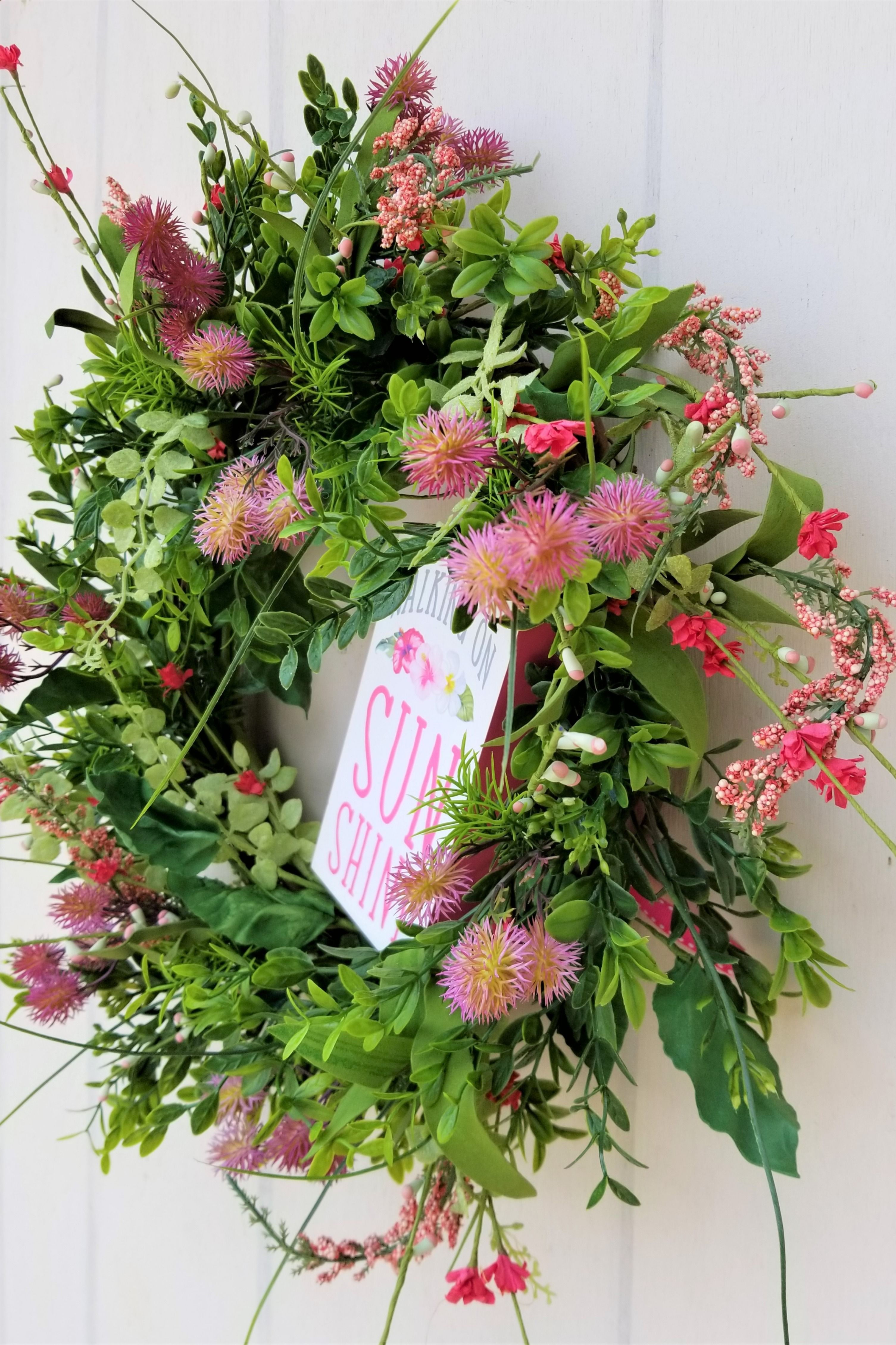 Floral Wreath For Front Door Walking On Sunshine Happy Pink