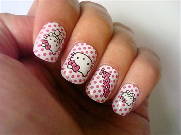 Hello kitty nails hello kitty nails pinterest kitty nails hello kitty pink nail designs pink and white nails prinsesfo Gallery