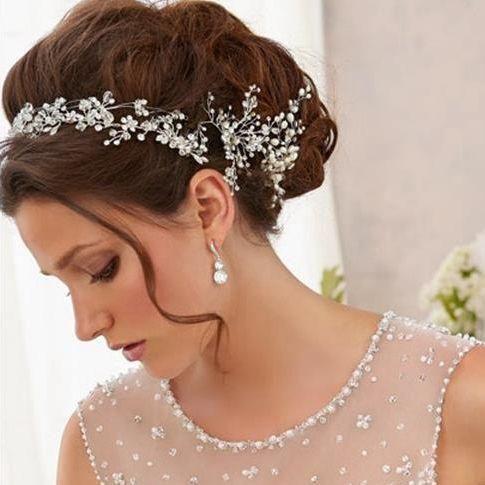 antique perla tiaras accesorios para el cabello peine de plata floral de la vid del pelo