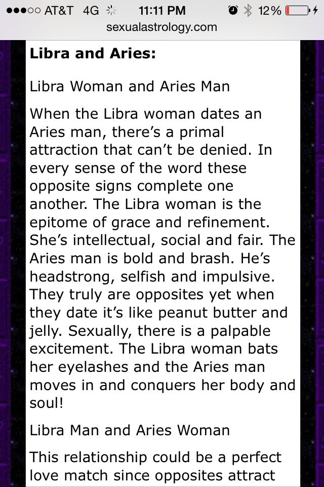 Aries woman dating libra man