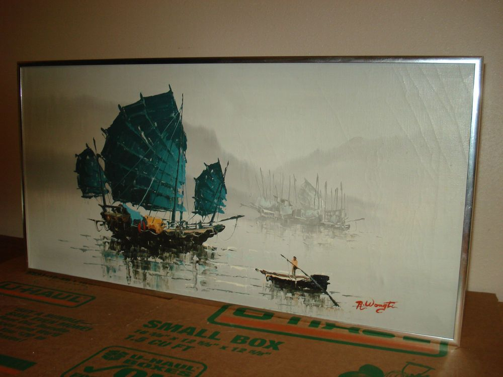 Original Hong Kong Framed Oil Paintings Chinese Junks Art