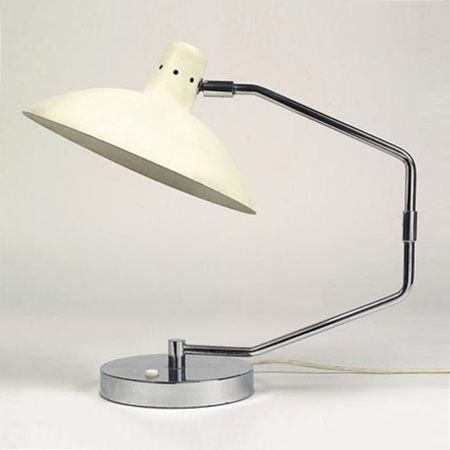 Lamp by Knoll, model no. 8, designed by Clay Michie around 1950, this one from around 1955. Chrome plated brass, white lacquered sheet metal shade. H 42 cm, shade dia. 30 cm. Lit. St. u. L. Rouland, Knoll Furniture 1938–1960, Schiffer Design Book, Atglen 1999, p. 154.