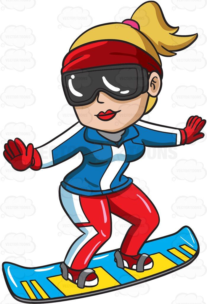 A Female Snowboarder Practicing Her Stance Clip Art Free Clip Art Cartoon People