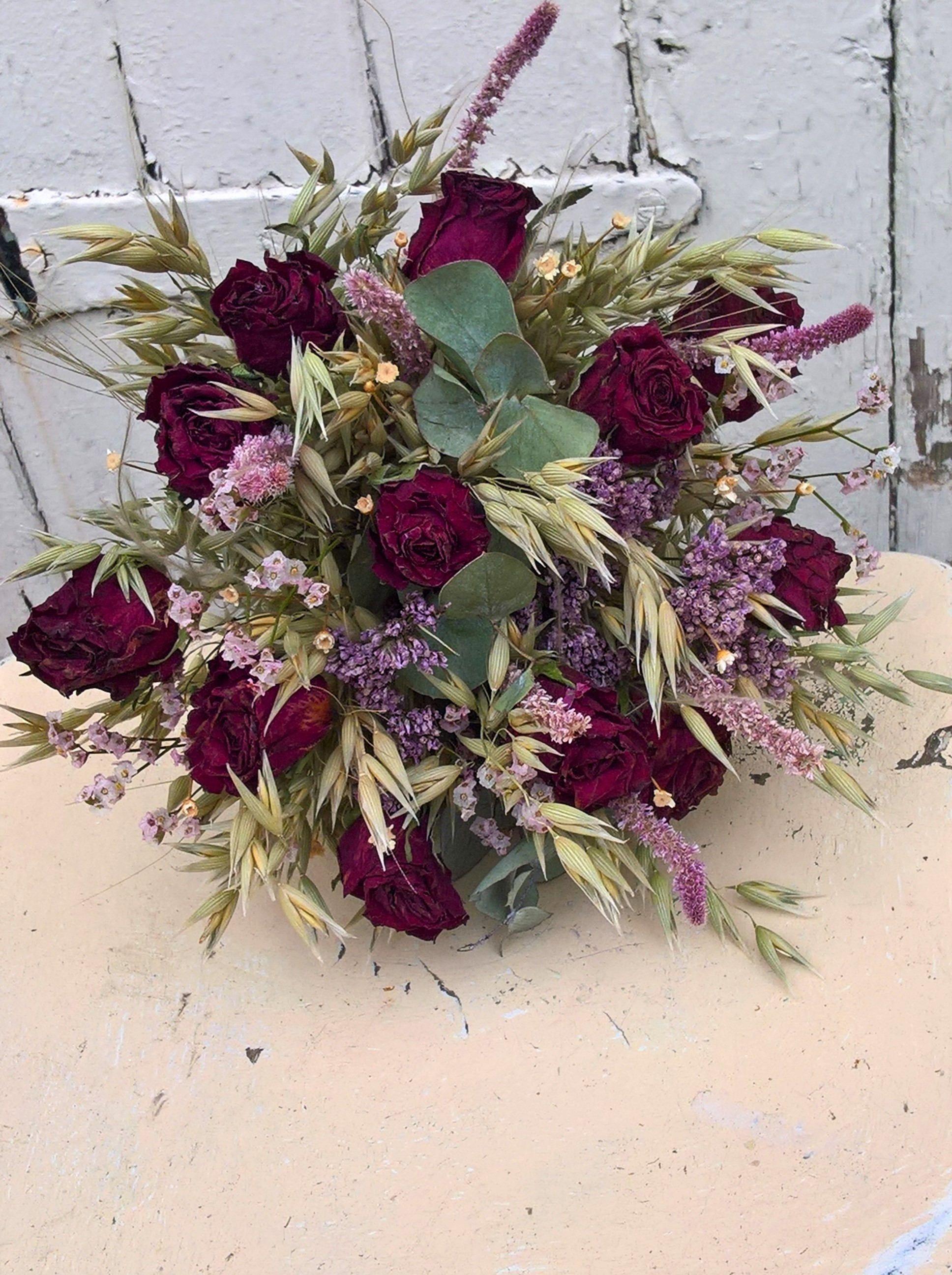 Dried Flower Wedding Bouquet, rustic wedding, destination wedding ...