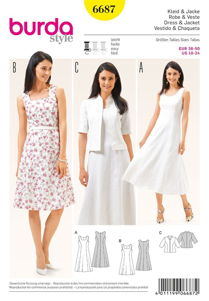 Womens Dress and Jacket Burda Sewing Pattern 6687. Size 10-24 ...