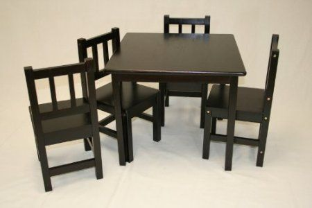 Amazon Com Kids Table And 4 Chairs 5pcs Solid Hardwood Set Espresso Decor Moreee Kids Table Chair Set Kids Table Chairs Table Chairs