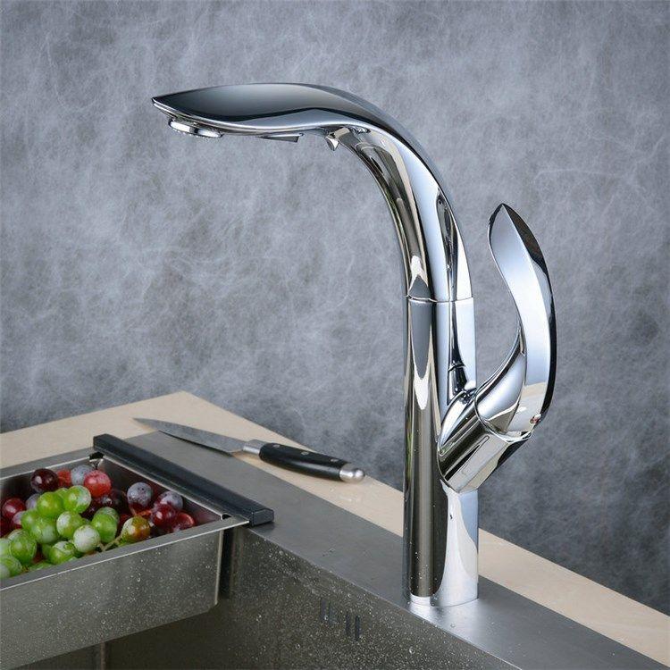 キッチン水栓台所蛇口引出し式水栓冷熱混合水栓シャワー吐水式クロム