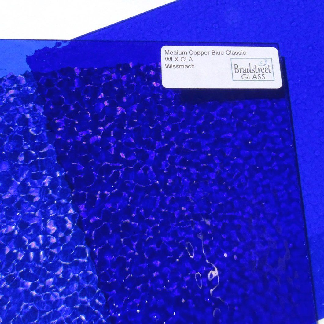 Wissmach Cobalt Blue Corella Cathedral Stained Glass 8 x 12 Hobby Sheet W1277