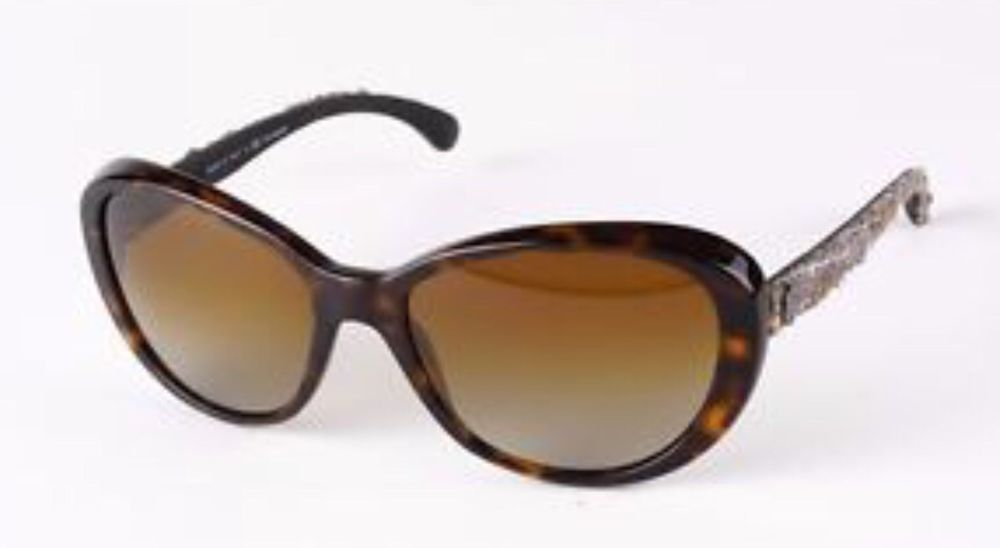 CHANEL Sunglasses AUTHENTIC 5241 Ch5241 Brown Cat Eye Tweed Black Case