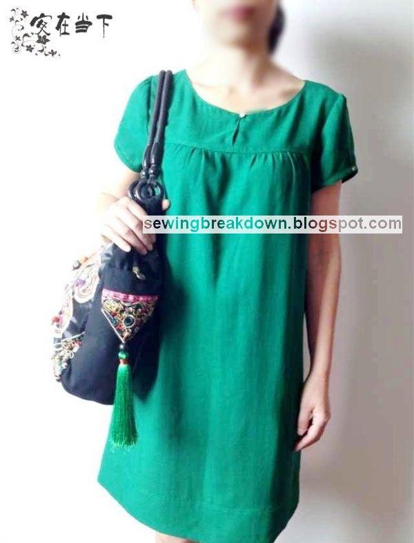 كيفية خياطة فستان بسيط بالصور خطوة بخطوة خياطة و تفصيل Recycled Dress Short Sleeve Dresses Simple Dresses