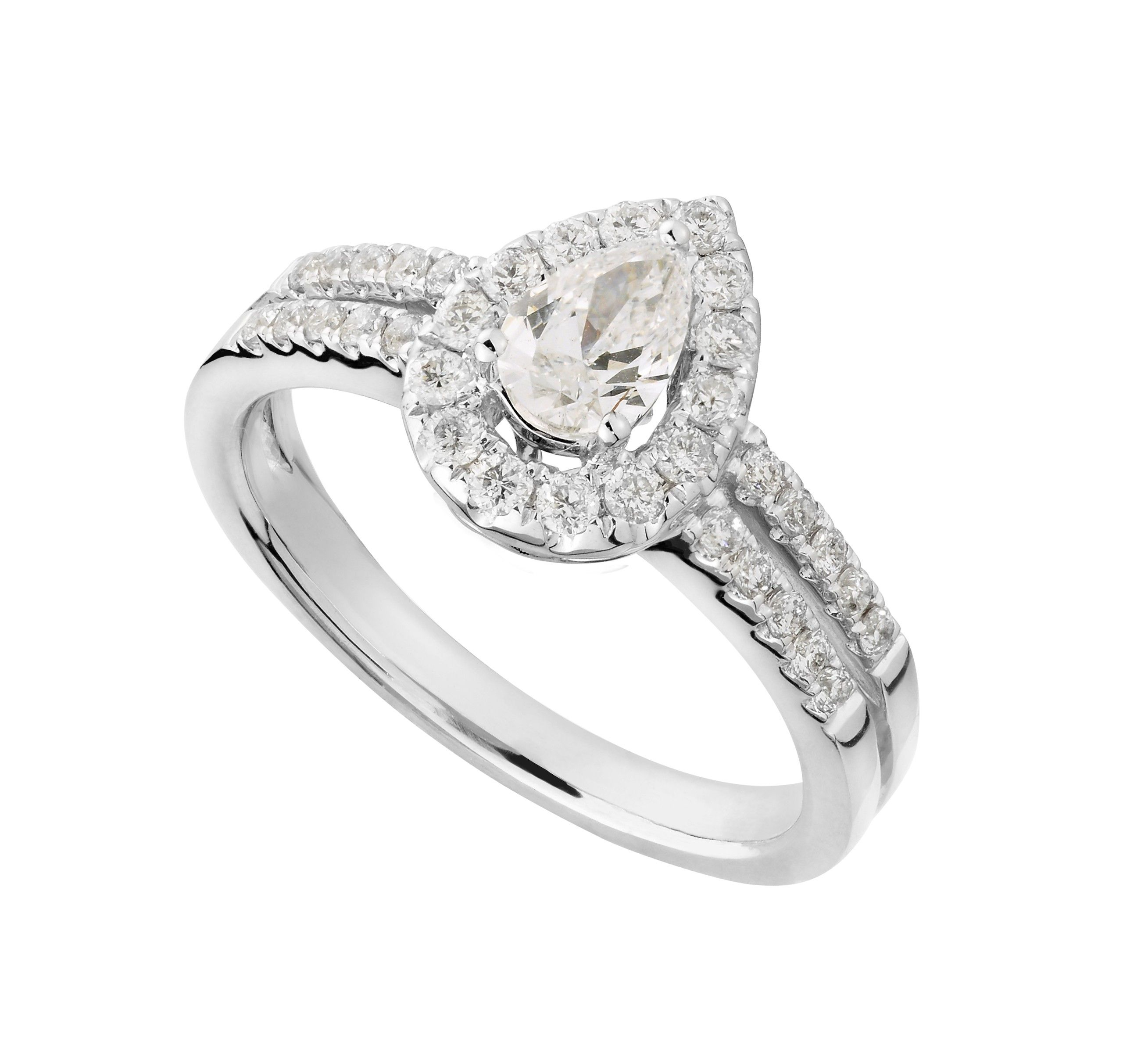 18ct White Gold 080 Carat Pear Cut Diamond Ring