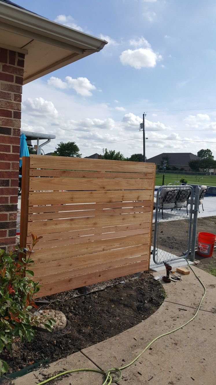 Modern Design Cedar Fence To Hide Pool Equipment And A C