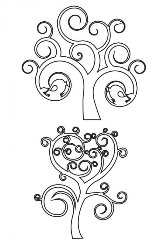 6 modelos de árboles para calar   Cortes y Calados   Adult coloring ...