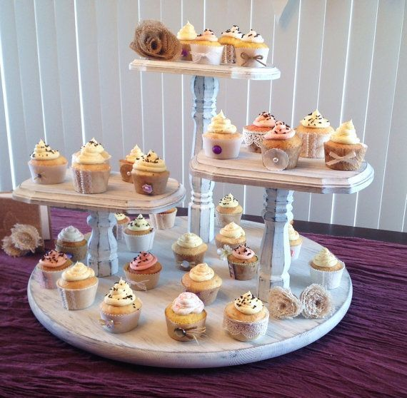Shabby Chic Cupcake Stand Large Round Base 3 Tier Pedestal