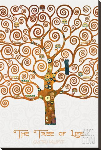 The Tree of Life Pastiche Marzipan Stretched Canvas Print by Gustav Klimt at Art.com