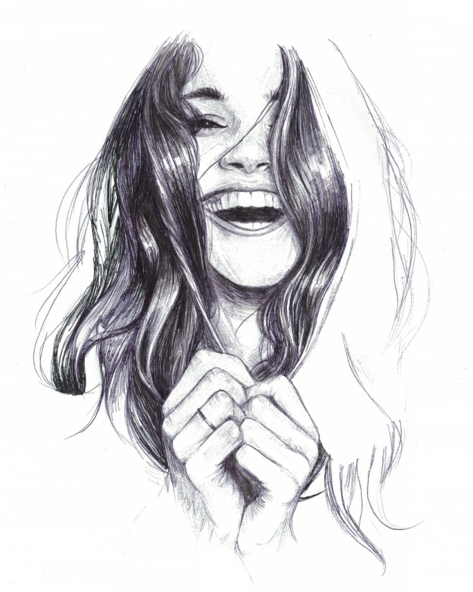 laughing woman drawing, pen doodle, portrait | Art ...