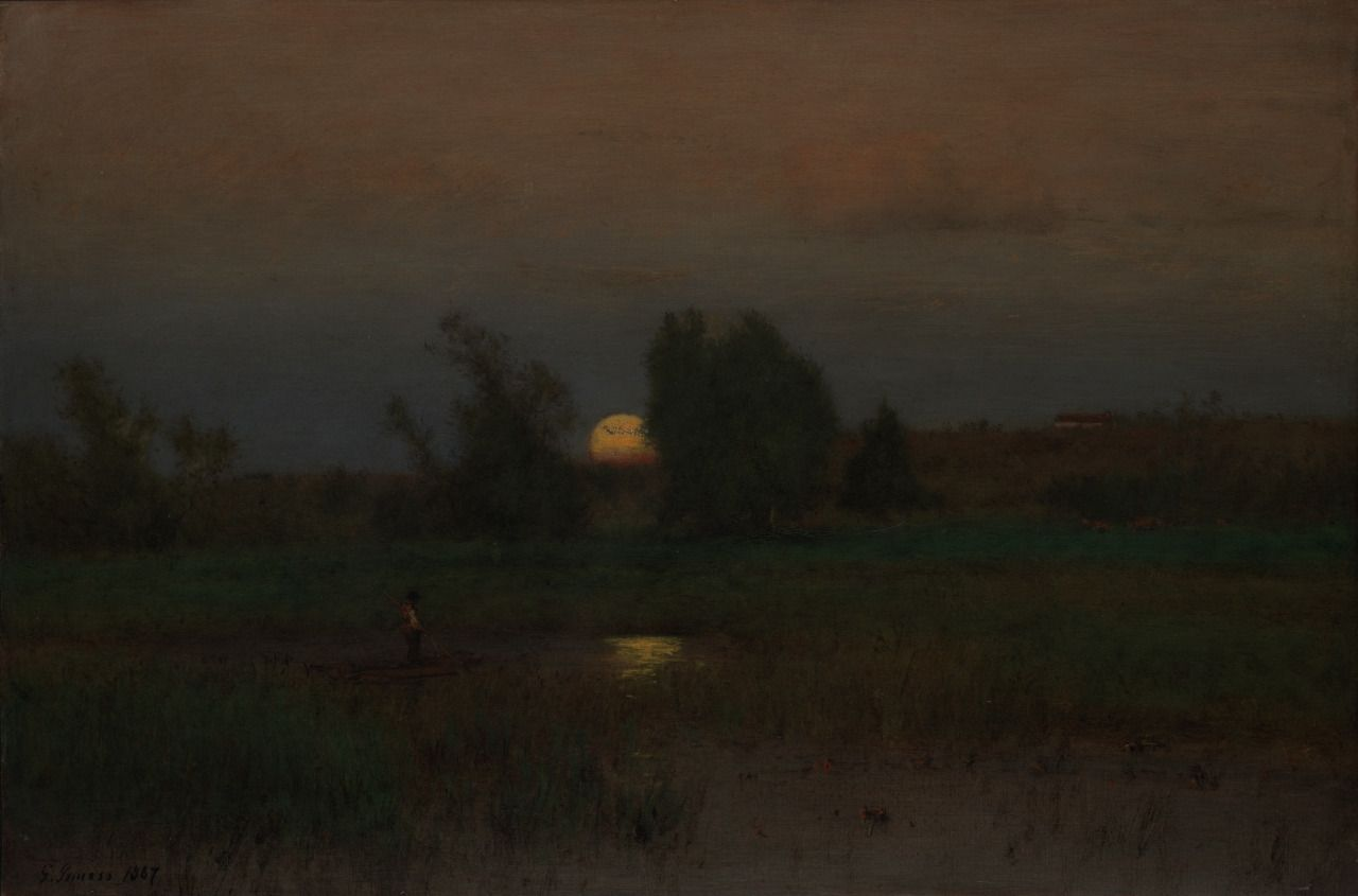 "catonhottinroof: "" George Inness (1825–1894) Moonrise, 1887 """
