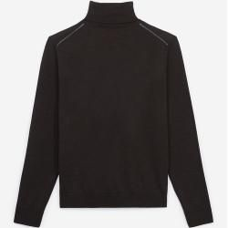Photo of The Kooples – Leather detail brown roll-neck wool sweater – Damenthekooples.com